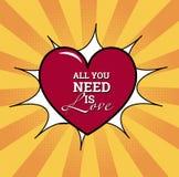 Tout que vous avez besoin est amour Affiche de vecteur illustration libre de droits