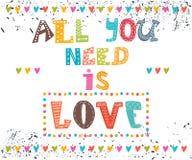 Tout que vous avez besoin est amour Message inspiré Photos libres de droits