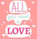 Tout que vous avez besoin est citation d'amour Photo libre de droits