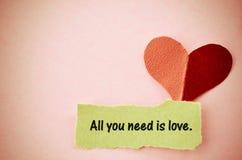 Tout que vous avez besoin est concept d'amour Photo libre de droits