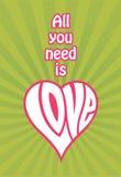 Tout que vous avez besoin est conception d'amour illustration de vecteur