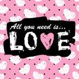 Tout que vous avez besoin est copie et slogan de vintage d'amour Configuration sans joint Illustration Libre de Droits