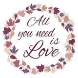 Tout que vous avez besoin est expression d'amour Vue avec des feuilles Photos libres de droits