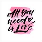Tout que vous avez besoin est lettrage artistique d'amour Illustration de vecteur Image libre de droits