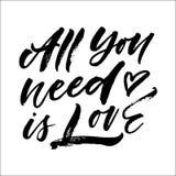 Tout que vous avez besoin est lettrage d'amour Illustration de vecteur Photos stock