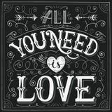 'Tout que vous avez besoin est main-lettrage d'amour' pour la copie, carte Images libres de droits