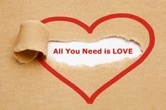 Tout que vous avez besoin est papier déchiré par amour Photographie stock libre de droits