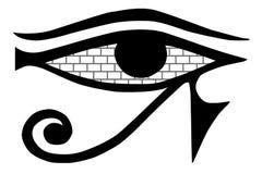 Tout-voir l'oeil Le maçon se connectent un fond blanc Symbole maçonnique d'isolement Oeil d'Egypte antique Murs de maçonnerie dan illustration de vecteur
