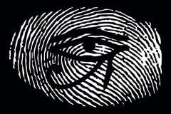 Tout-voir l'oeil sur une empreinte digitale sur un fond noir illustration libre de droits