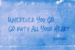 Tout votre coeur Confucius Photos stock