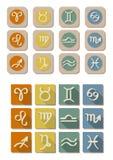 Toute l'icône de symbole de zodiaque Image libre de droits