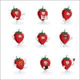 Toute la mascotte de logo de fraise d'ensemble Photos stock