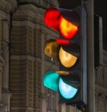 Toutes les couleurs d'un feu de signalisation Image libre de droits