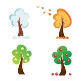 Toutes les icônes d'arbre de saison Photos stock