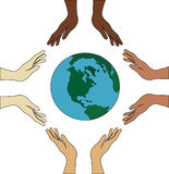 Toutes les mains tiennent le monde Images libres de droits