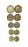 Toutes les pièces de monnaie de Lire de turc Photos stock