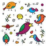 Toutinegras e pássaro exóticos da música com plumagem colorida em um vetor branco do fundo Fotografia de Stock Royalty Free