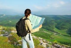 Toutist read the map Stock Photos