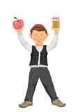 Tova di Shana, nuovo anno ebreo, ragazzo divertente con la mela e miele Immagine Stock