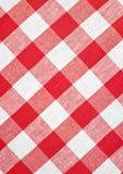 Tovaglia controllata rossa del tessuto Fotografie Stock Libere da Diritti