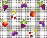 Tovaglia di disegno della frutta dell'annata Fotografia Stock Libera da Diritti