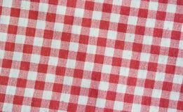 Tovaglia a quadretti di tela rossa Struttura rossa e bianca fotografia stock libera da diritti