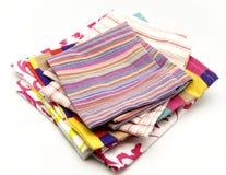 Tovaglioli colorati del panno Fotografia Stock