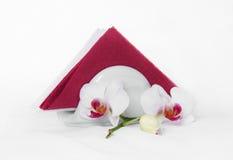 Tovaglioli di carta & orchidea Fotografie Stock