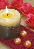 Tovagliolo, candela, rose Immagini Stock