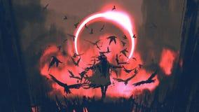 Tovenaar die van kraaien een werktijd gieten royalty-vrije illustratie