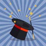 Tovenaar Hat met Tovenaar Wand Royalty-vrije Stock Afbeelding