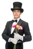 Tovenaar met bloemen Royalty-vrije Stock Foto's
