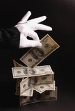 Tovenaar met geld royalty-vrije stock foto