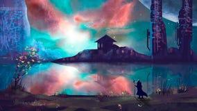 Tovenaar met stad sc.i-FI en kleurrijke nevel, het digitale schilderen royalty-vrije illustratie