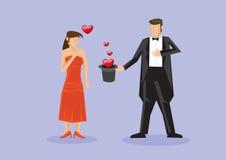 Tovenaar Romantic Surprise Proposal met Magische Trucs Stock Foto