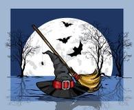 Tovenaarshoed en bezem againts grote maan en knuppel Het concept van Halloween vector illustratie