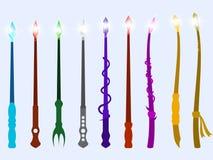 Toverstokjes Magisch kristal en magische voorwerpen Tovenaarshulpmiddel Vector Stock Afbeelding
