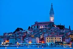 Tovn of Rovinj bluer hour view. Istria, Croatia royalty free stock image