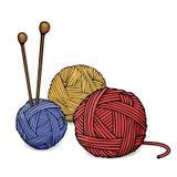 Tovor av olika färger av ull för att sticka och stickor Den färgrika vektorillustrationen skissar in stil stock illustrationer