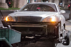 Tow the accident car Stock Photo