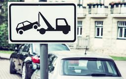 Tow Away Sign, No Parking Place, Blue Filter Royalty Free Stock Images
