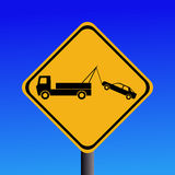 Tow away zone sign. Warning tow away zone sign on blue illustration stock illustration