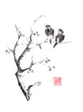 Tow birds on tree original sumi-e ink painting. Tow birds on a tree Japanese style original sumi-e ink painting. Hieroglyph featured means sincerity. Great for Royalty Free Stock Photography
