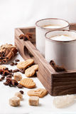 Tow cup of cappuccino with cookies as hearts Royalty Free Stock Photography