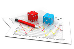 Tow Dices cubes on a business graph chart Royalty Free Stock Photo