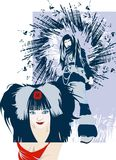 Tow Girls Blue. Beautiful girls on an abstract background royalty free illustration