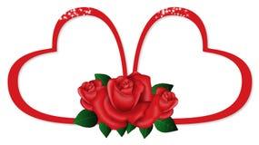 Tow Harts con le rose Immagini Stock