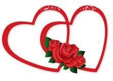 Tow Harts con le rose Fotografia Stock