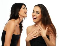 Tow laughing brunette girls Stock Photography
