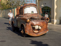Tow Mater driving in Cars Land at in Disney California Adventure Park Stock Images
